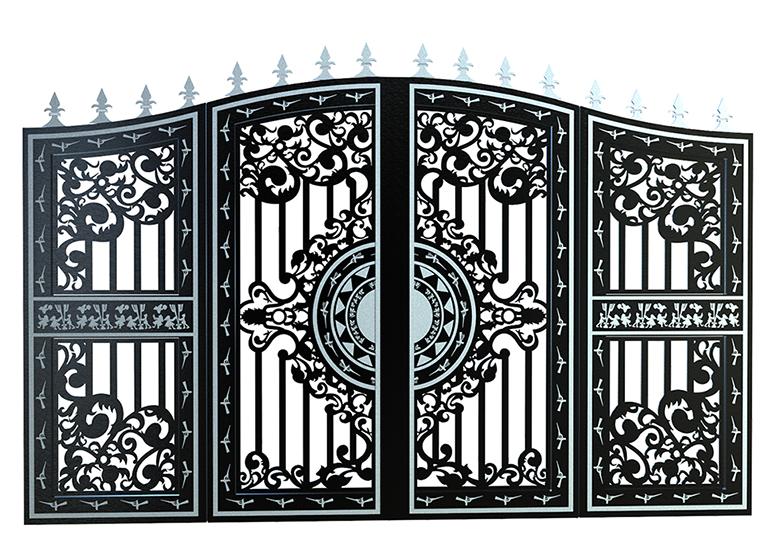 Cửa cổng sắt 4 cánh cắt CNC nghệ thuật đẹp-146